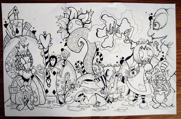 600x394 Alice In Wonderland Mural By Snowtraz