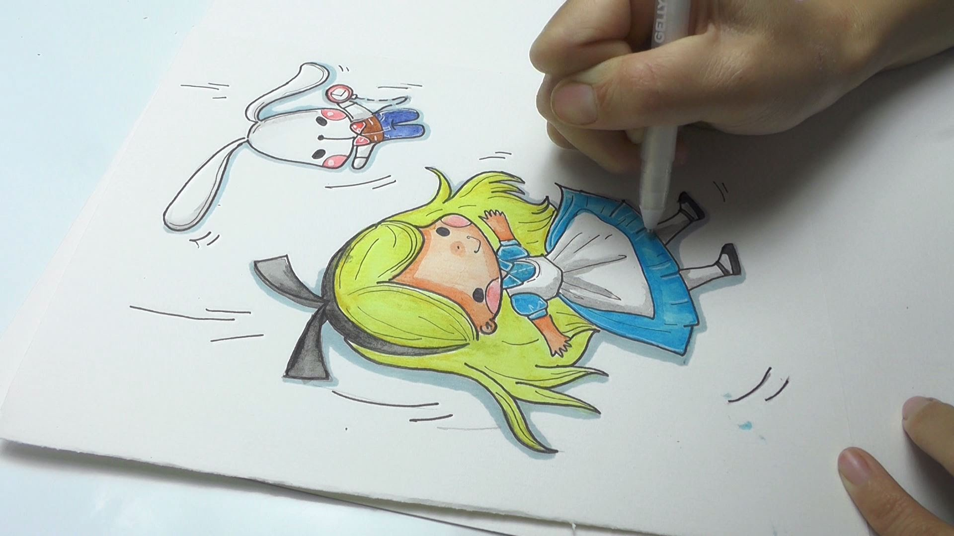1920x1080 Speed Drawing Alice In Wonderland With The White Rabbit Diy