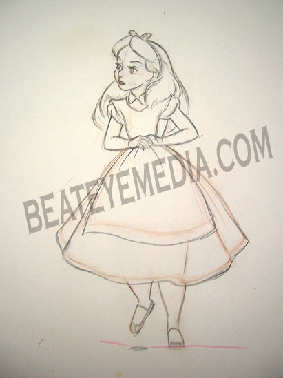 411x549 Alice In Wonderland Original Pencil Drawing