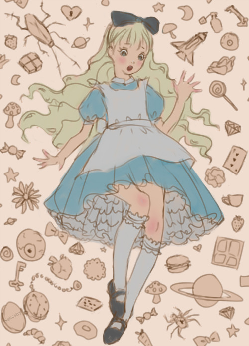 500x694 Saccstry, A Quick Doodle Of Alice Falling Down The Rabbit