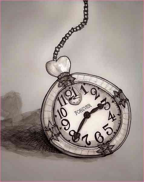 476x602 Alice In Wonderland Clock Drawing