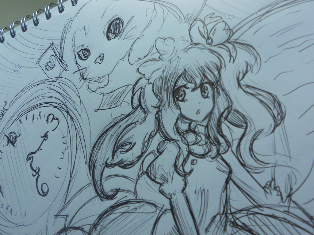 1024x768 Alice In Wonderland 2012 Drawing By Vocalandroid01