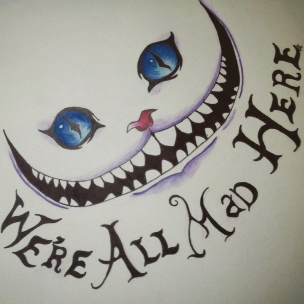 610x610 Alice In Wonderland, Blue Eyes, Cat, Cheshire Cat, Drawing