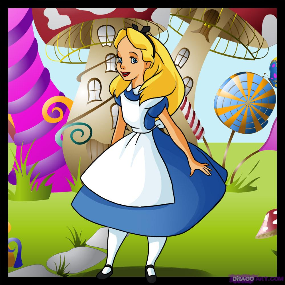 1000x1000 Alice Wonderland Cartoon Drawings How To Draw Alice