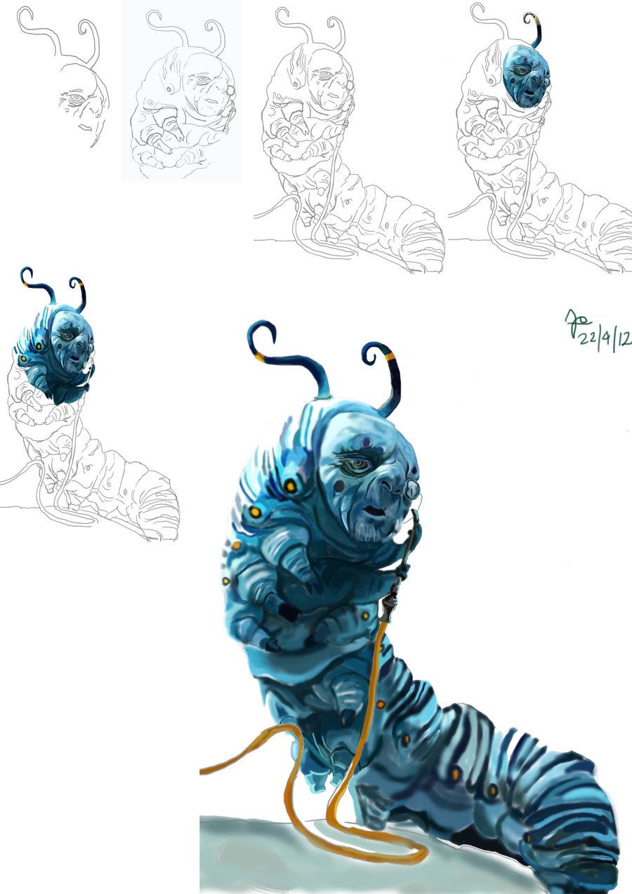 900x1273 Alice In Wonderland Caterpillar Wip Digital Paint By Jo Tyea