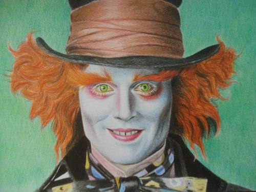 500x375 Alice In Wonderland The Mad Hatter (Johnny Depp). Pencil Drawing