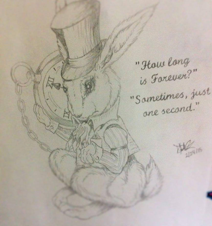 867x922 Alice In Wonderland White Rabbit Drawing By Danibear509
