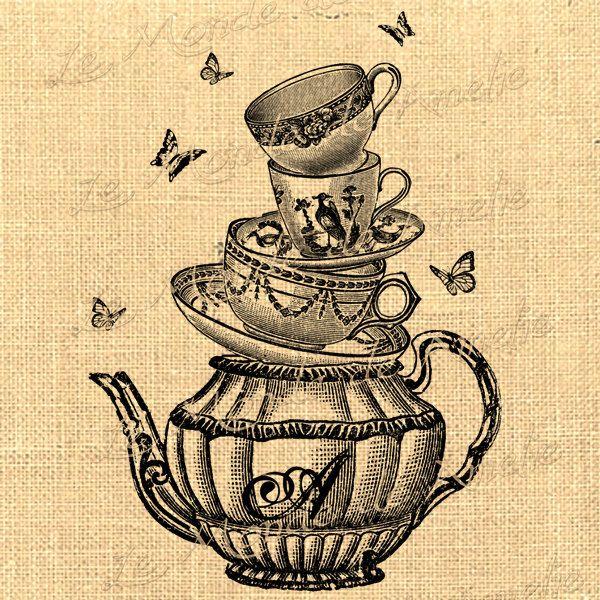 600x600 Tea With Alice Wonderland Tea Cup Mad Hatter Fantasy Graphic Art