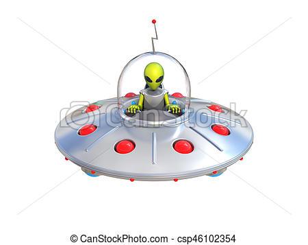 450x357 Alien Spaceship, Flying Saucer 3d Illustration Stock Illustrations
