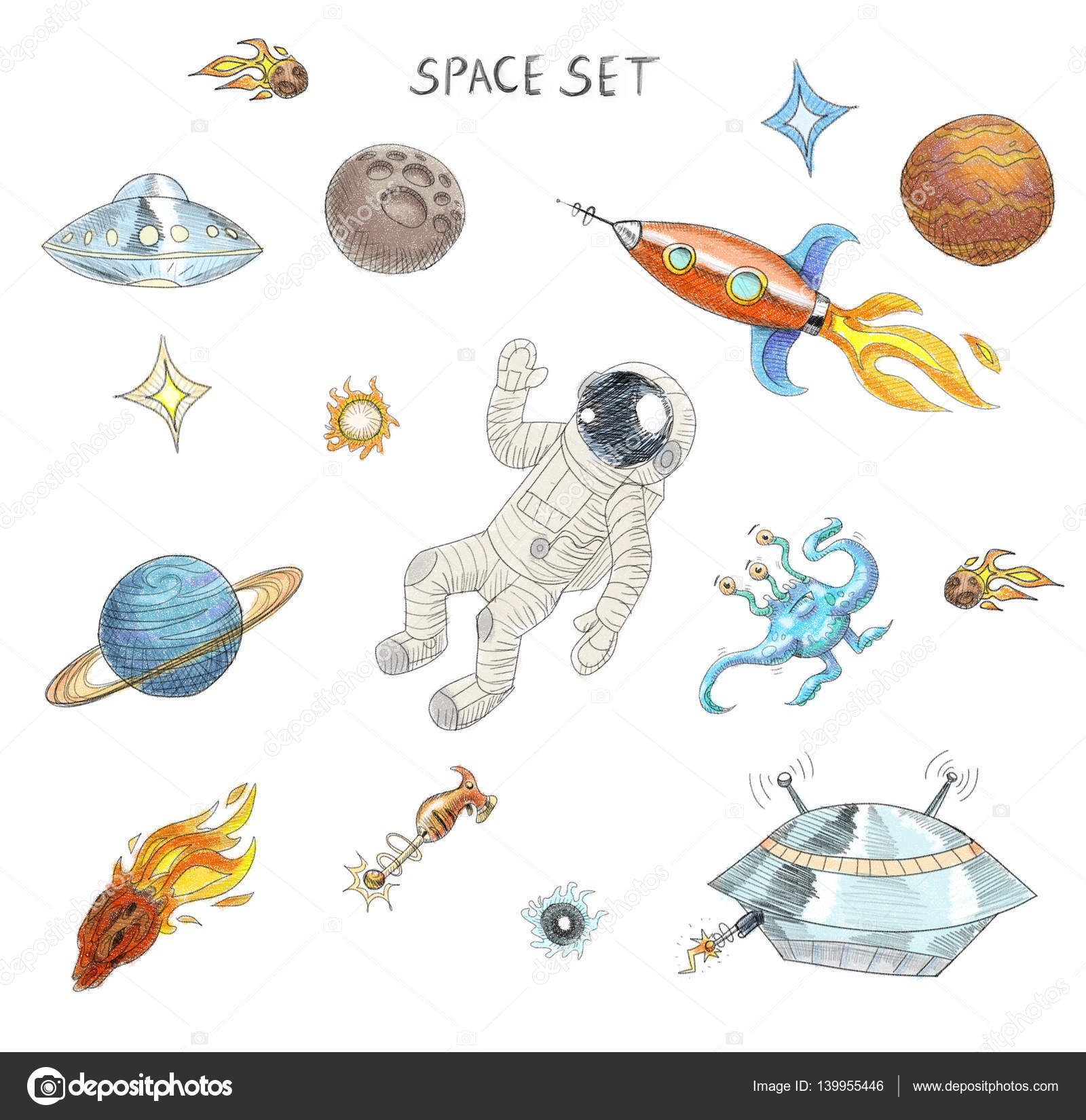 1600x1650 Drawing Of Colorful Space Objects Astronaut, Alien, Ufo