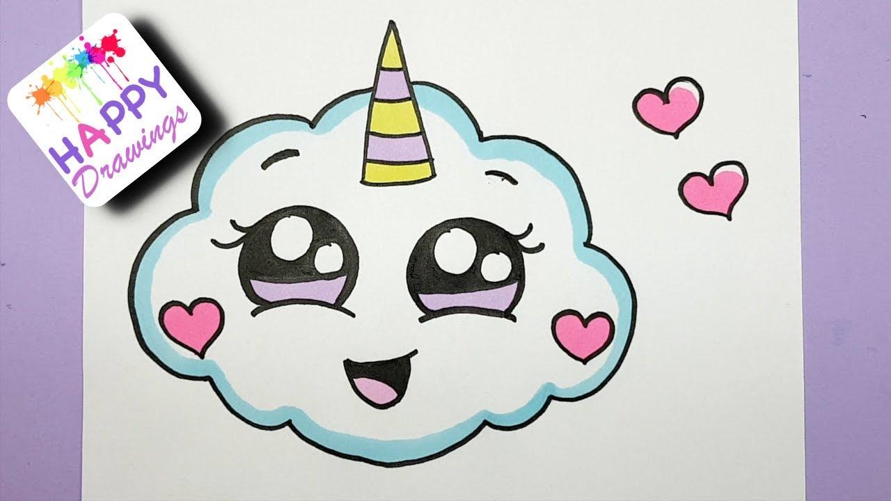 1280x720 How To Draw A Super Cute Cloud Emoji Unicorn