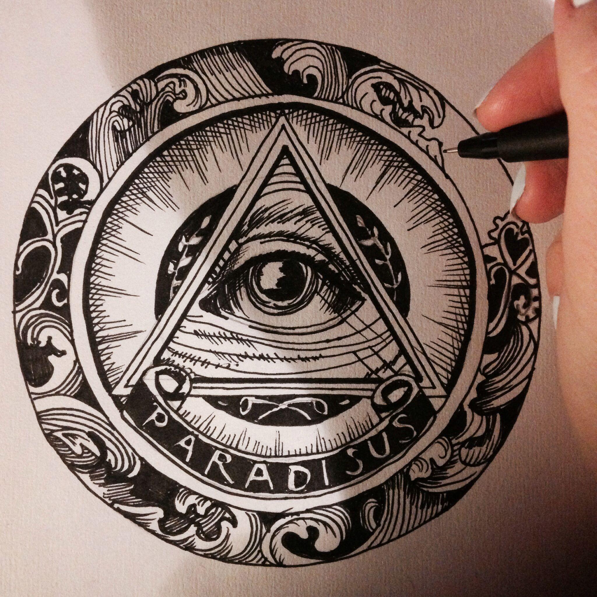 2048x2048 All Seeing Eye, Hand Drawing Tatoos Hand Drawn
