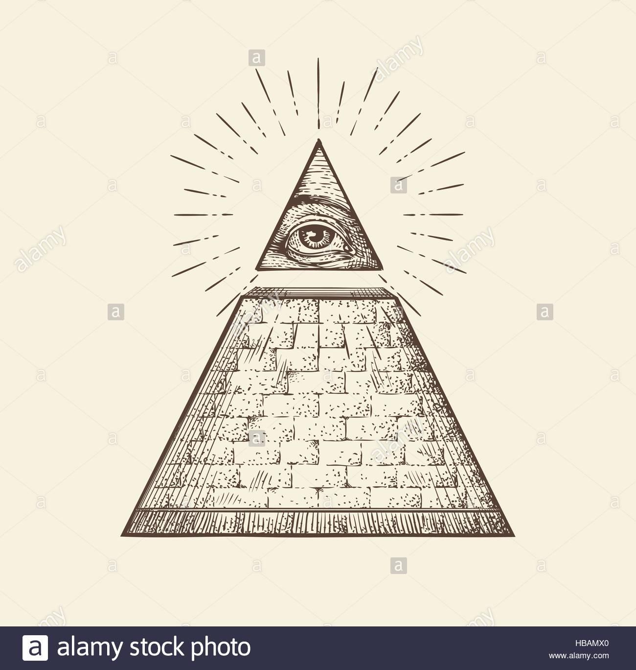 1300x1368 All Seeing Eye Pyramid Symbol. New World Order. Hand Drawn Sketch