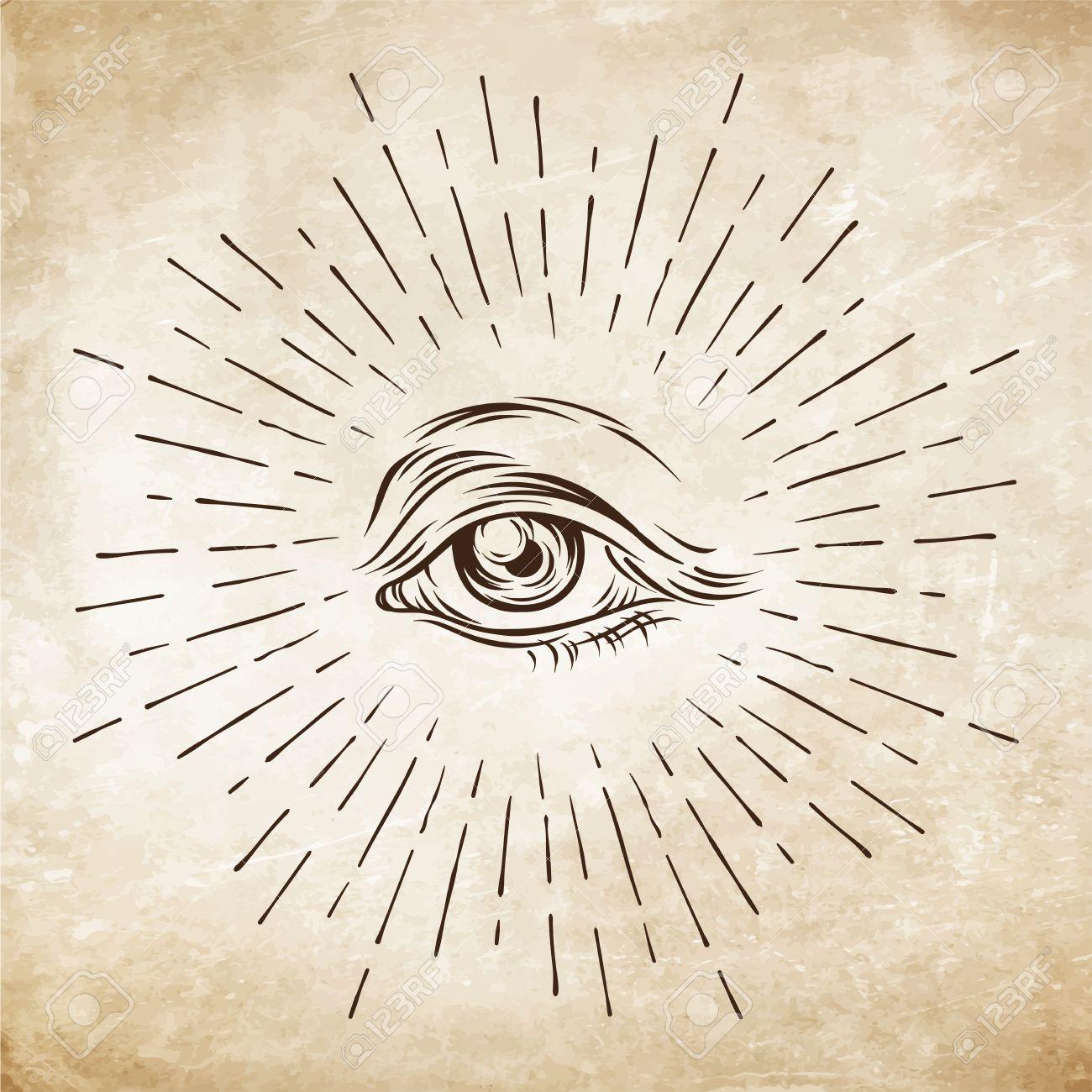 1300x1300 Hand Drawn Grunge Sketch Eye Of Providence. Masonic Symbol. All