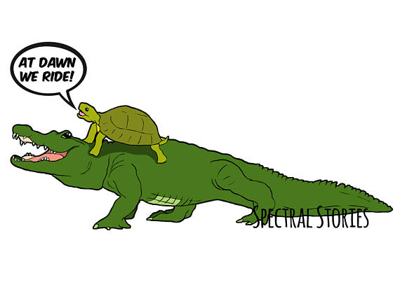 570x403 Cartoon Drawing Of An Alligator And Turtle At Dawn We Ride