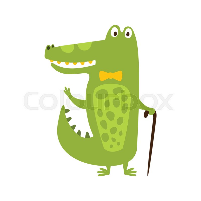 800x800 Crocodile With Bow Tie And Cane Flat Cartoon Green Friendly