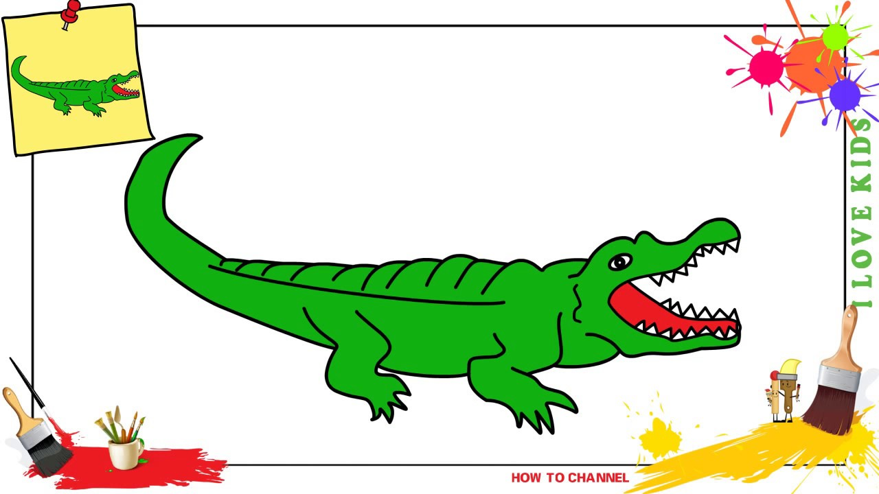 1280x720 How to draw a crocodile EASY amp SLOWLY step by step for kids and