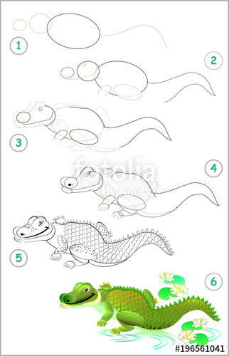 322x500 Page shows how to learn step by step to draw a cute crocodile
