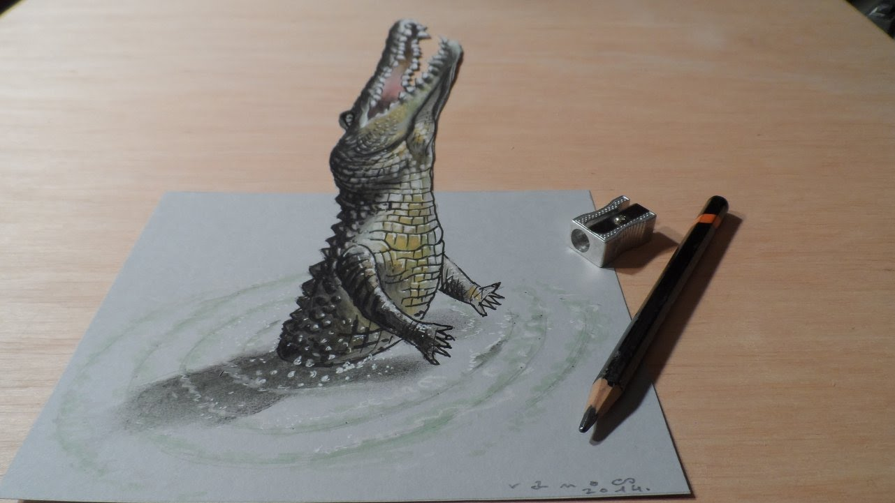 1281x721 How to Draw a 3D Jumping Crocodile, Trick Art Drawing