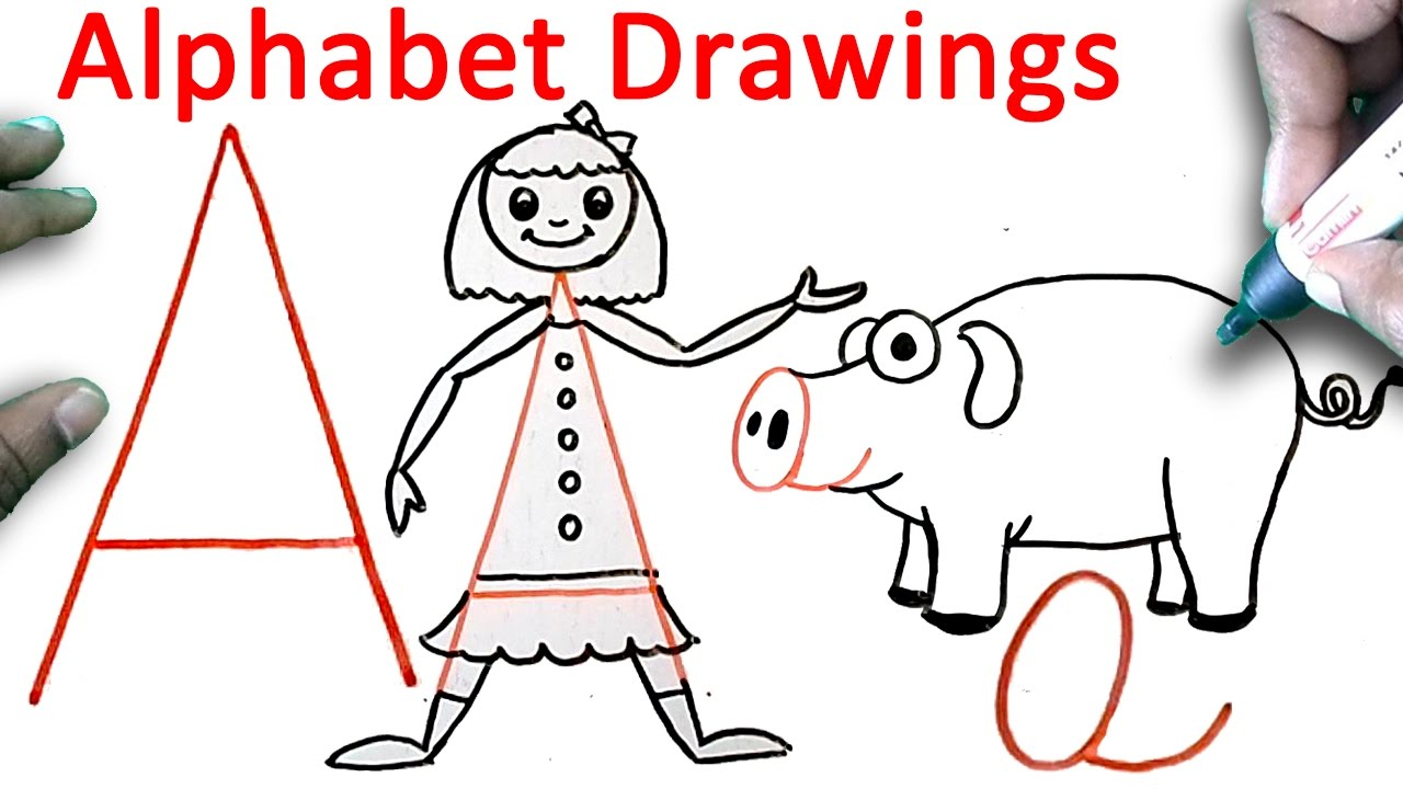 1280x720 How To Draw With Alphabet A Fun With Alphabets Drawing For Kids