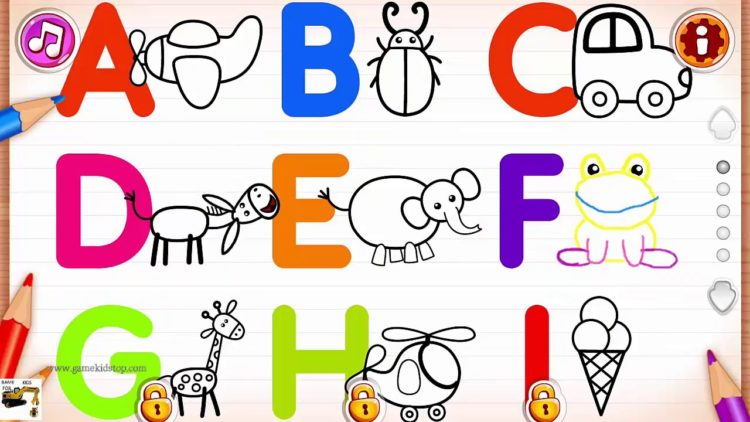 750x422 kids learn tracing alphabet from a to z with drawing for kids