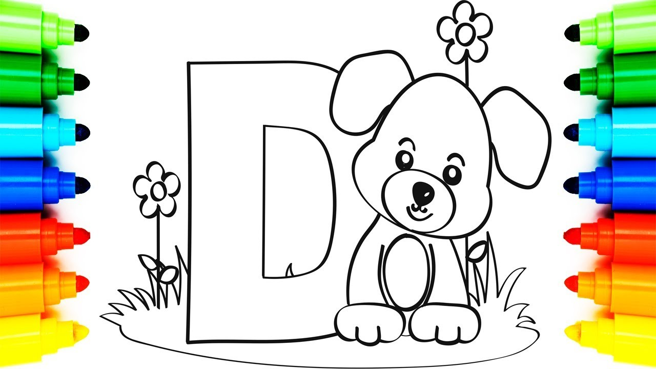 1280x720 How To Draw Alphabet Coloring Book Letter D Dog Animation
