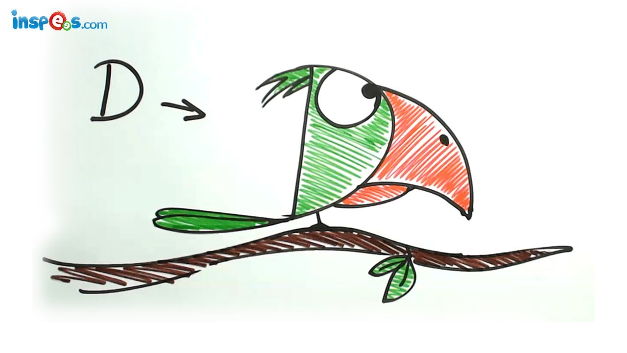 1280x720 Alphabets Drawing Pictures Make Parrot From Alphabet D