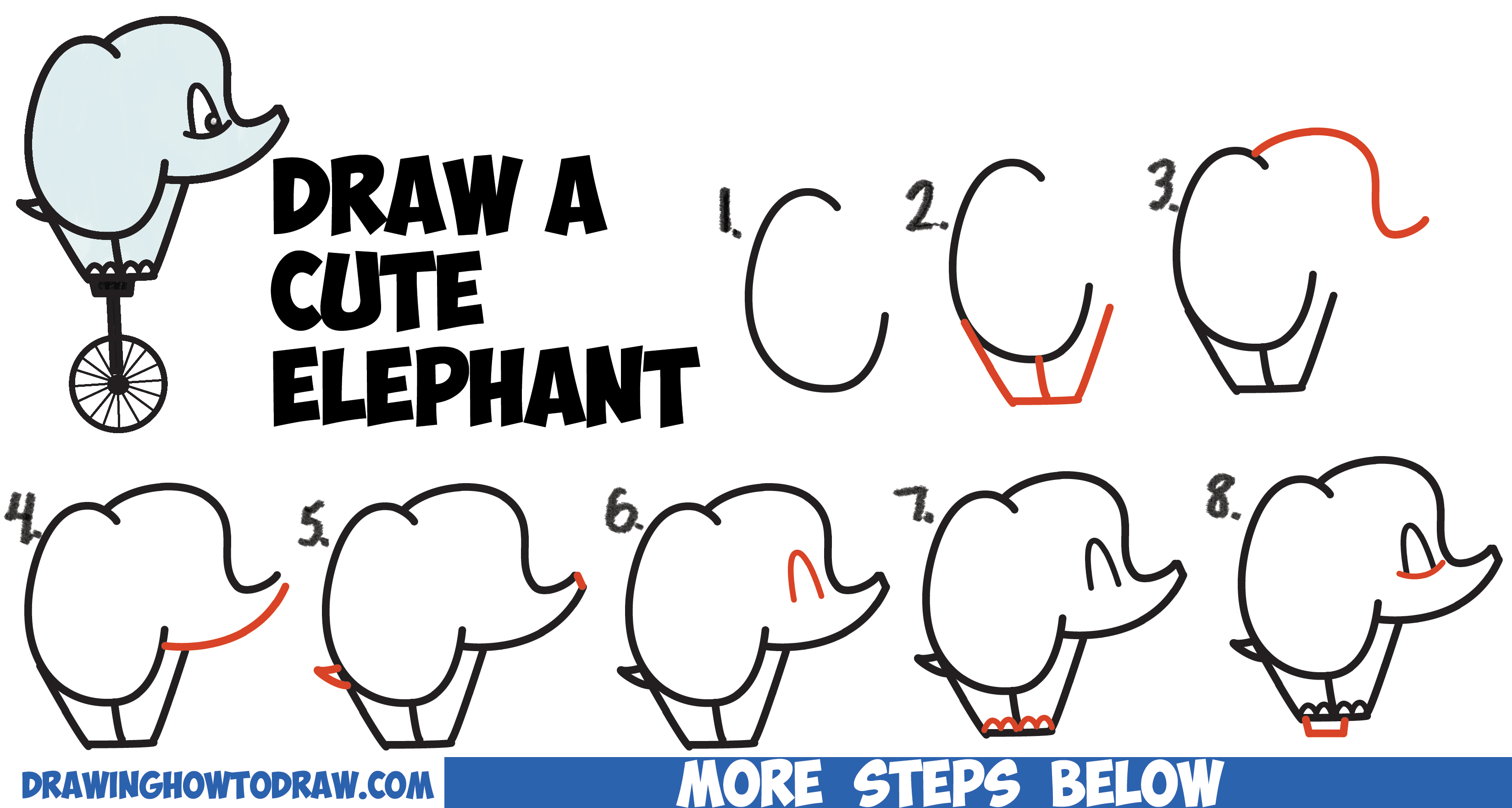 3297x1761 How To Draw A Cute Cartoon Baby Elephant Riding A Unicycle