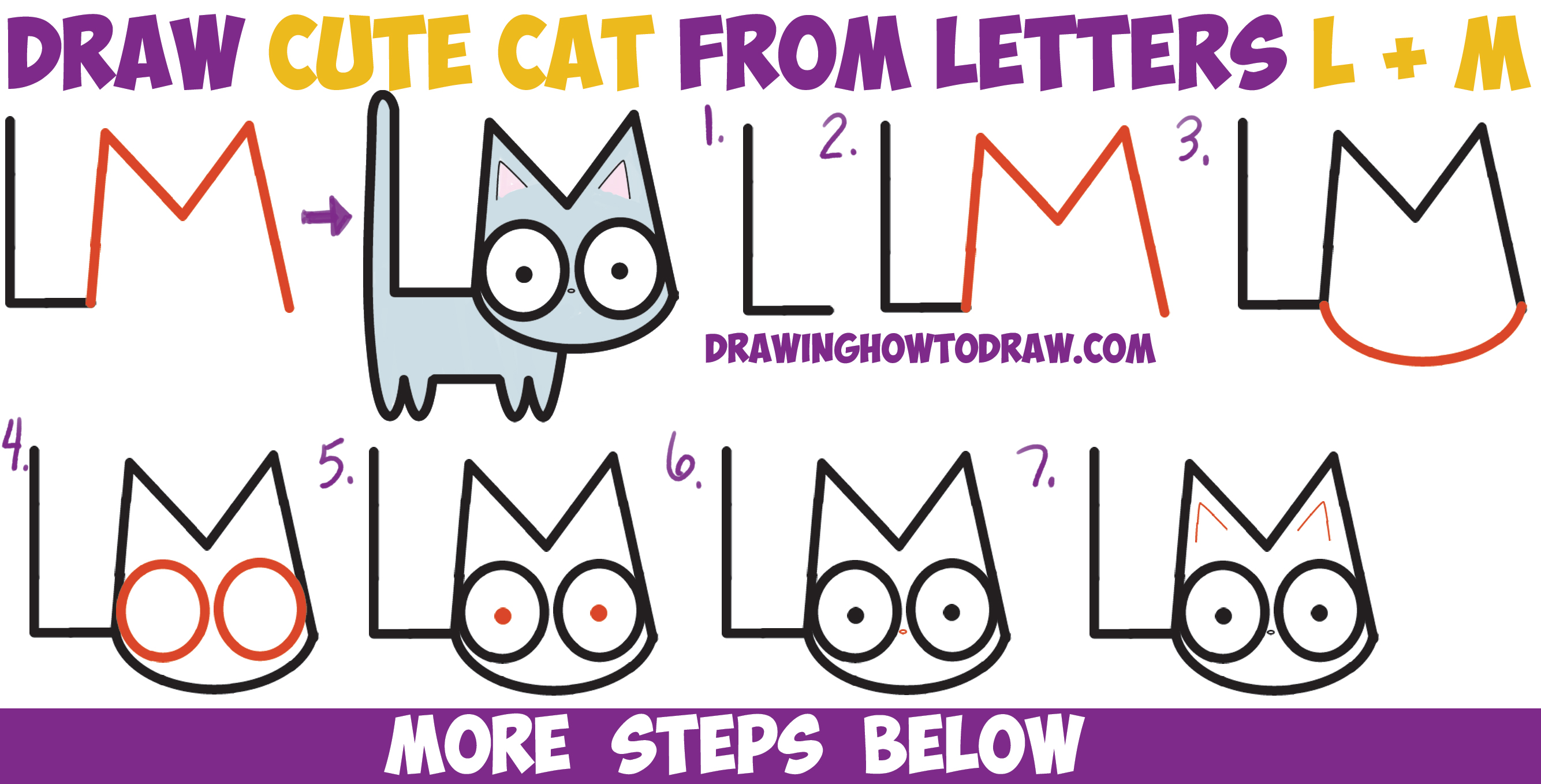 2669x1358 How To Draw A Cute Cartoon Kitten From Letters L + M Easy Step By