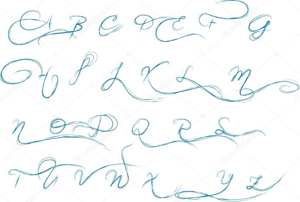 1024x692 Pencil Drawn Vector Alphabet Capital Letter Stock Vector