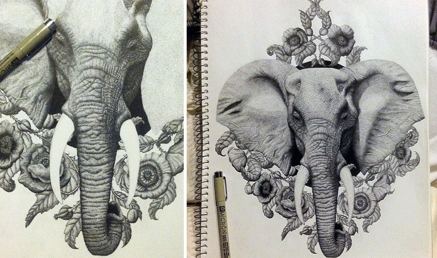 880x520 Artist Uses Millions Of Dots To Create Complex Pen Drawings