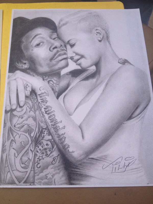 600x800 14x16 Graphite Drawing Of Wiz Kalifa And Amber Rose Artist, Juan