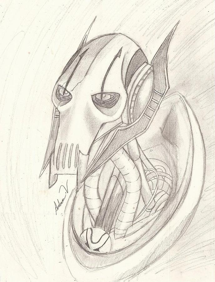 687x900 General Grievous Drawing By Amber Vitek