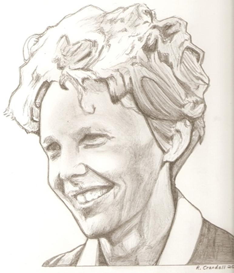 772x900 Amelia Earhart Drawing Drawing By Robert Crandall