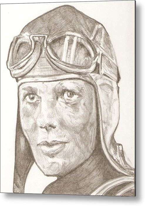 494x701 Amelia Earhart Drawing Metal Print By Robert Crandall