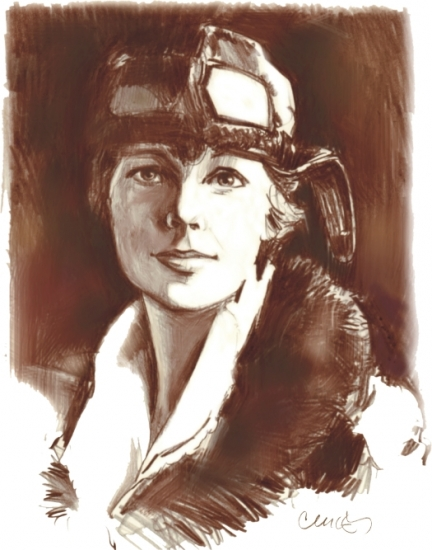 432x550 Portrait Of Amelia Earhart By Roger Curley On Stars Portraits