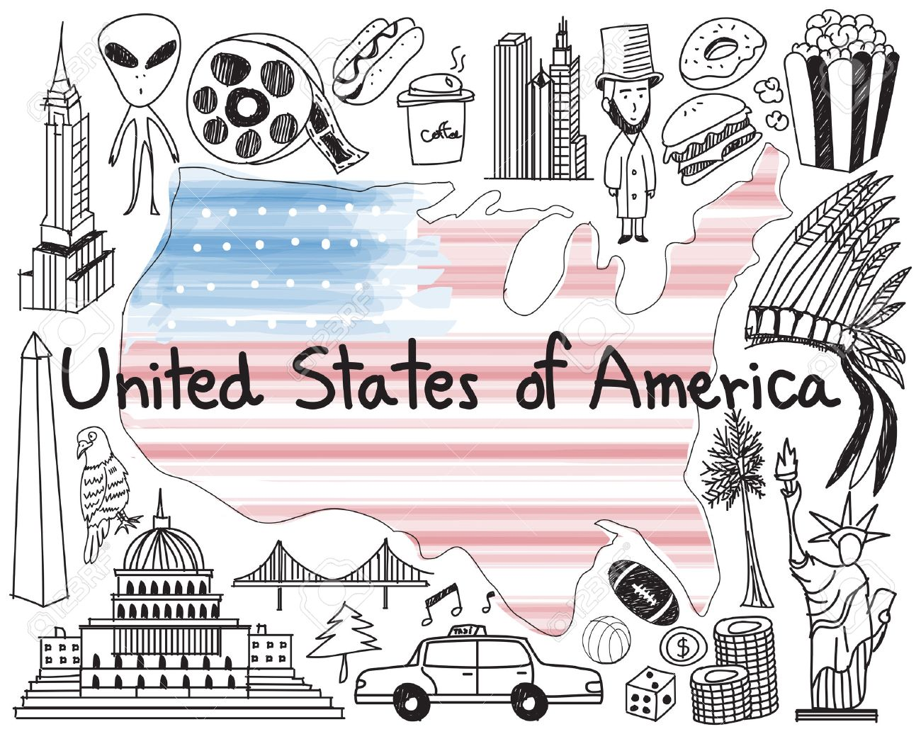 1300x1036 Travel To United State Of America Doodle Drawing Icon With Culture