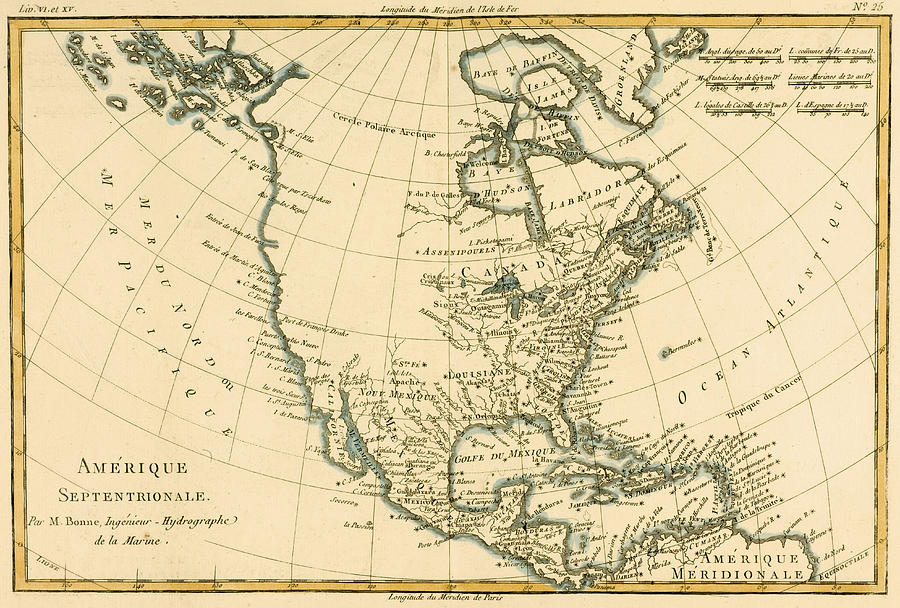 900x608 Antique Map Of North America Drawing By Guillaume Raynal