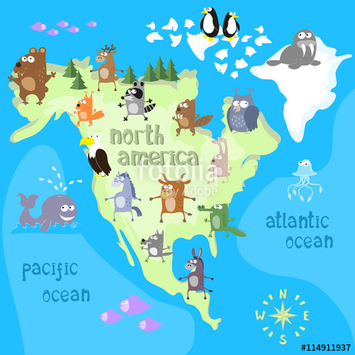 500x500 Concept Design Map Of North American Continent With Animals