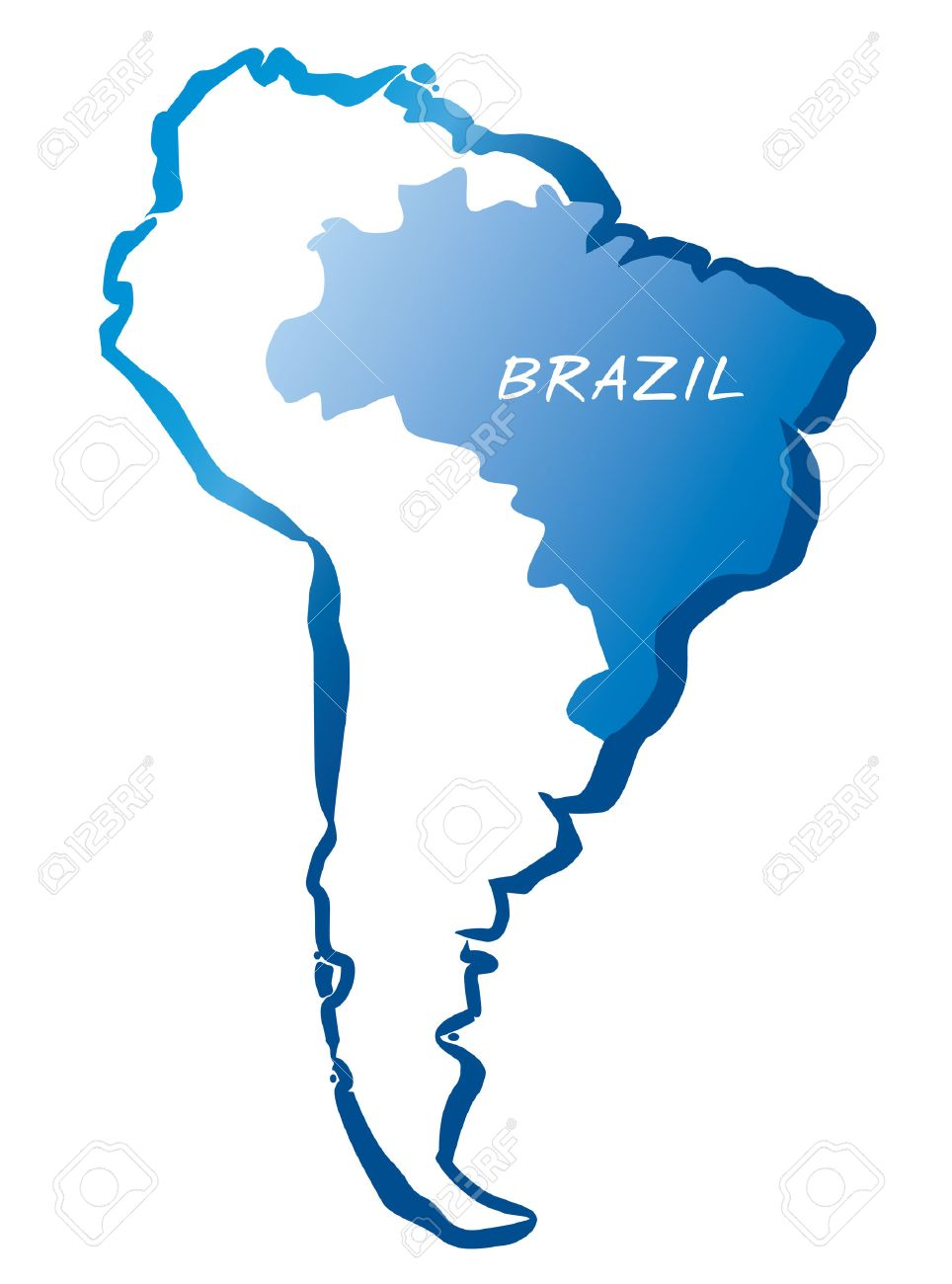964x1300 Drawing Map Of Latin America And Brazil Royalty Free Cliparts