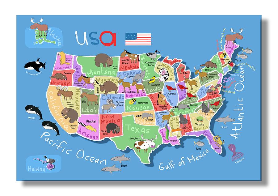 900x634 Map Of America Digital Art By Carla Daly