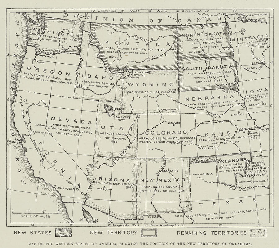 900x803 Map Of The Western States Of America Drawing By English School