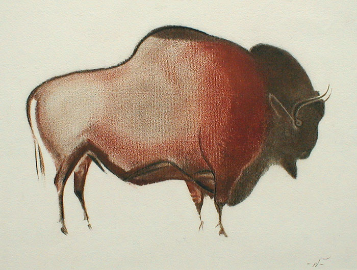 700x530 Bison Cave Drawing) By John William Winkler Annex Galleries Fine