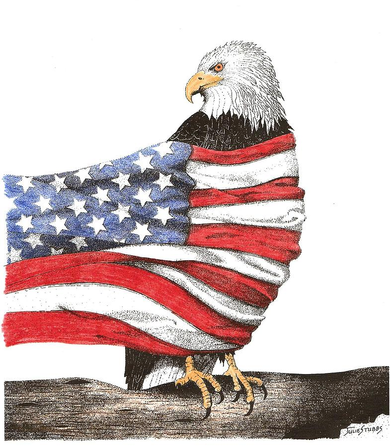787x900 American Eagle Drawing By Julie Stubbs
