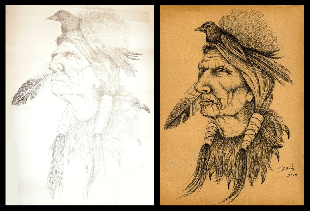 1084x737 Native American Drawing Reproduction By Nevuela