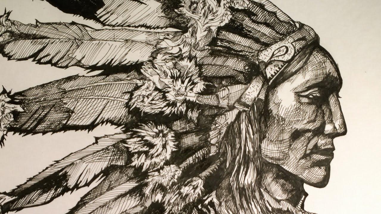 1280x720 Native American Chief. Drawing Chief.global Drawing Club.