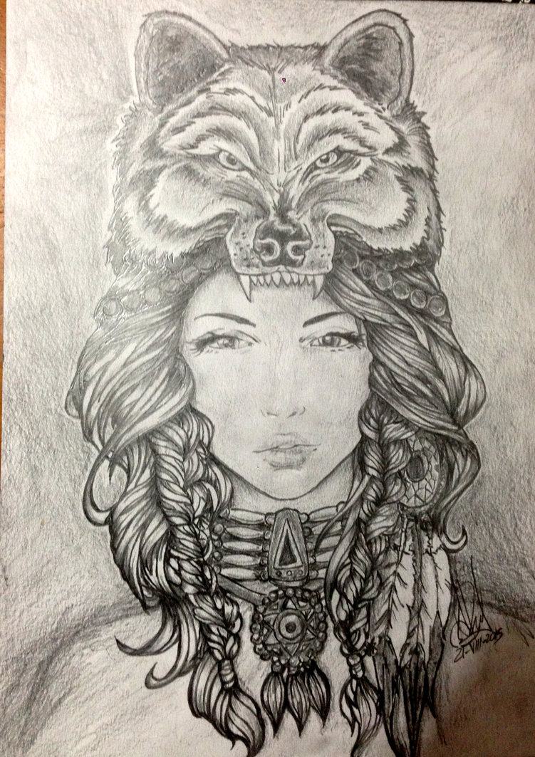 751x1063 Traditional Native American Woman Pencil Drawing By Customartspe