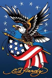 200x300 Ed Hardy American Eagle Tattoo Drawing Flag Stars Patriotic Poster