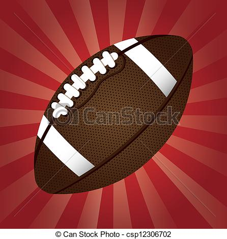 446x470 American Football Over Red Background. Vector Illustration Vector