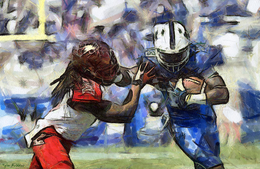900x586 American Football 1 Of 3 Drawing By Tyler Robbins